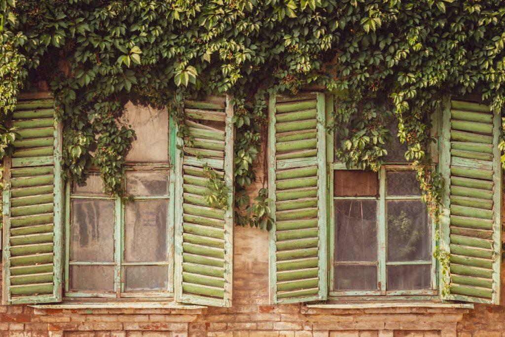Staré otvorené okná s rozbitým sklom